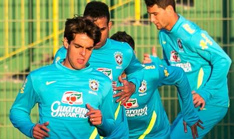 Pi³karze reprezentacji Brazylii podczas treningu we Wroc³awiu