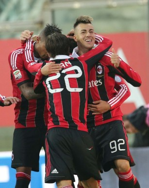 AC Milan's El Shaarawy celebrates with his teammates after scoring against Parma during their Serie A soccer match at the Tardini stadium in Parma