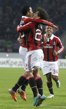 AC Milan's Emanuelson celebrates scoring a goal with teammate Krkic during their Champion's league Group C soccer match against Zenit St. Petersburg in St. Petersburg's Petrovsky Stadium